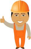 Constructor árabe apareciendo pulgar — Vector de stock