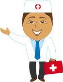 Happy asian doctor showing — Stock Vector
