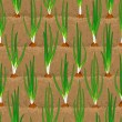 Royalty-Free Stock Векторное изображение: Onion sprout vegetable patches in row seamless