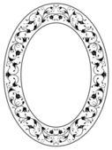 Oriental floral ornamental black oval frame — Stock Vector