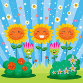 Happy Spring Flower Garden — Stock Vector