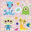 Cute Alien Monsters — Stock Vector
