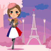 Parisien Girl — Stock Vector