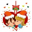 Christmas Love Kiss — Stock Vector