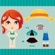 Red Haired Fashion Girl — Stock Vector
