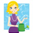 Watering Woman — Stock Vector