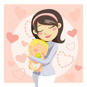 Caring Mother — Stock Vector