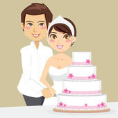 Cutting Wedding Cake — Stock Vector