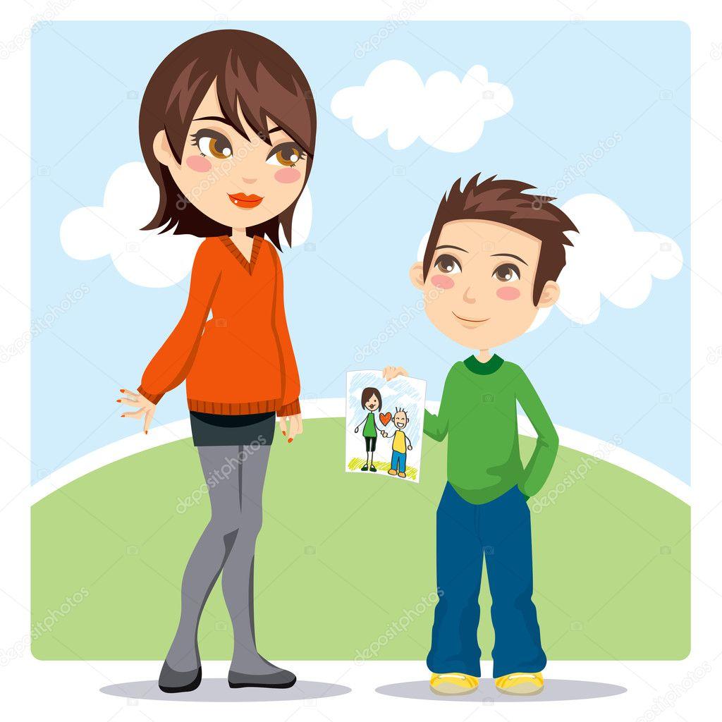 Рисованные картинки сын и мама 4 фотография