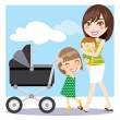 Mother Walking — Stock Vector