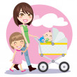 Mother Walking - Stock Vector