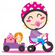 Tricycle Trailer — Stock Vector