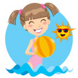 Beach Girl Play — Stock Vector #11654692