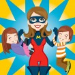 Stock Vector: Super Hero Mom