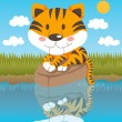 Relaxed Tiger — Stock Vector