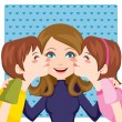 Kissing Mom - Stock Vector