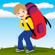 Backpack Boy — Stock Vector