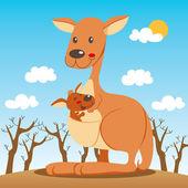 Kangaroo Mom — Stock Vector