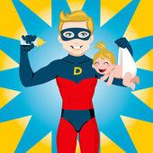 スーパー ヒーローのお父さん — ストックベクタ