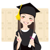 Asian Graduate — Stock Vector