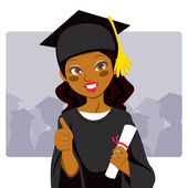 African American Graduate — Stock Vector