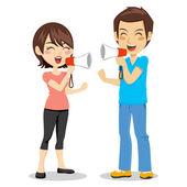 Megaphone Couple — Stock Vector