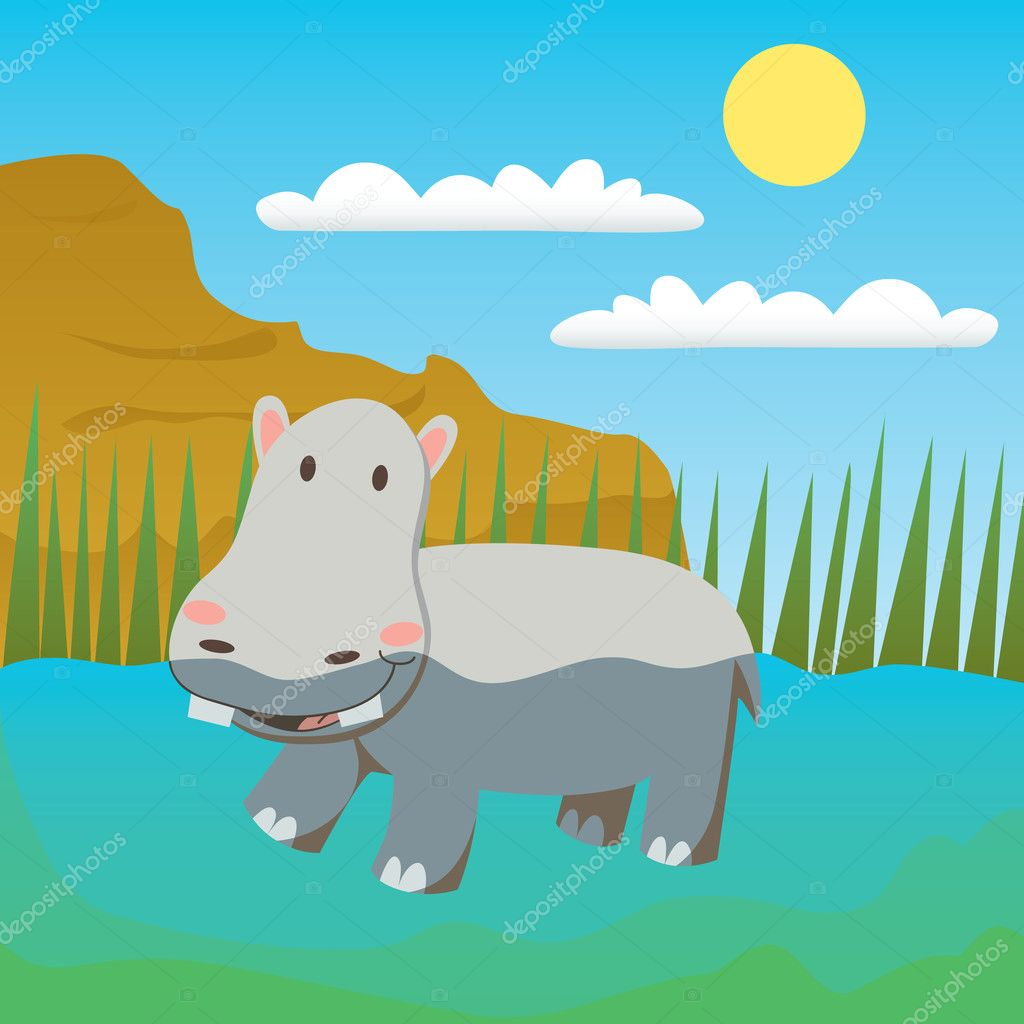 Adorable hippopotamus swimming on a pond enjoying water — Stock Vector #11677065