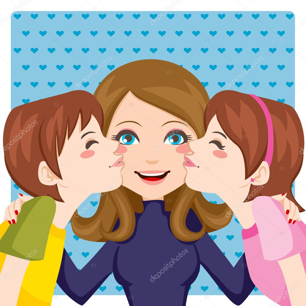 Son and daughter kissing happy mother cheeks from both sides — Stock Vector #11677133