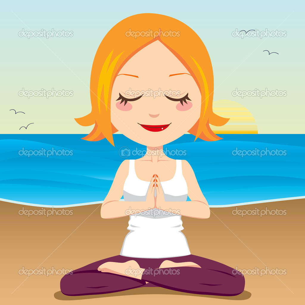 Cute red hair woman meditating and exercising yoga lotus position on the beach — Stock Vector #11677367