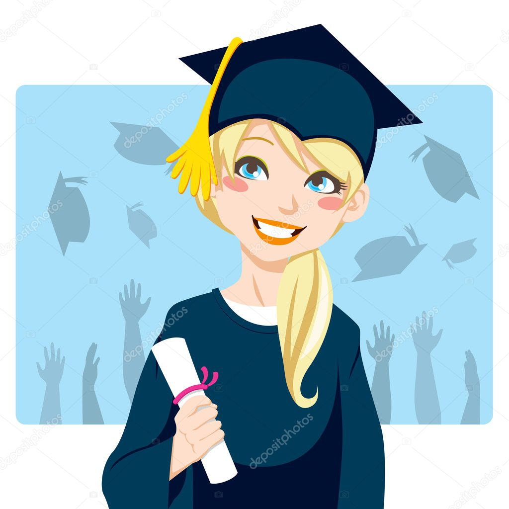 Graduate Girl — Stock Vector © Kakigori 11677378