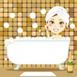 Relaxing Bubble Bath — Stock Vector