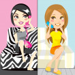 Stock Vector: Gossip Girls