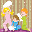 Pillow fight - Stock Vector