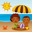 Happy Beach Baby — Stock Vector