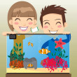 Happy Kids Aquarium — Stock Vector