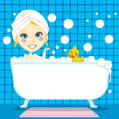 Soothing Bubble Bath — Stock Vector