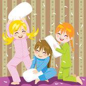Pelea de almohadas — Vector de stock