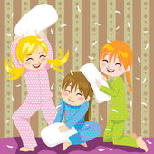 Pillow fight — Stock Vector