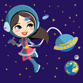 Pretty Astronaut Girl — Stock Vector