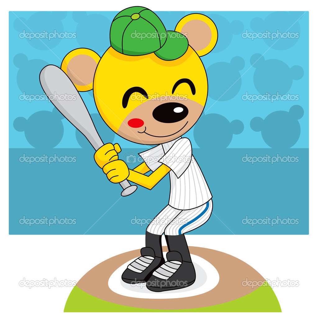 Cute teddy bear playing baseball holding a bat ready to hit the ball  Stock Vector #11700406