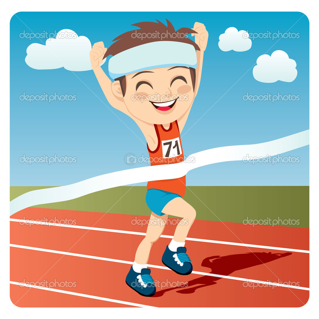 Young athlete man winning Olympic games sprint race competition — Stock Vector #11700683