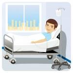 uomo al letto d'ospedale — Vettoriale Stock