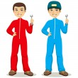Royalty-Free Stock Vector Image: Mechanic Twins