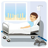 Man at Hospital Bed — Stock Vector