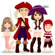 Pirate Family — Stock Vector