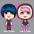 Stock Vector: Teen Emo Couple