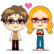 Geek Couple — Stock Vector