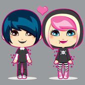 Teen Emo Couple — Vector de stock
