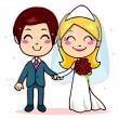 Married Couple Holding Hands — Stock Vector