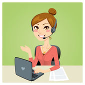 Call Center Woman — Stock Vector